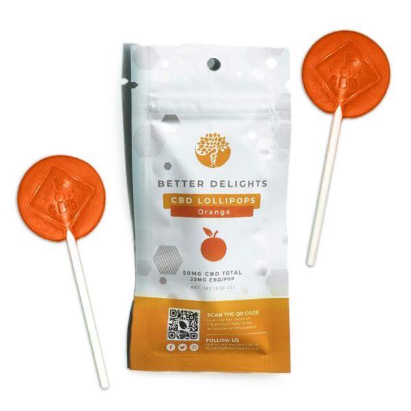 Better Delights Orange CBD Lollipops