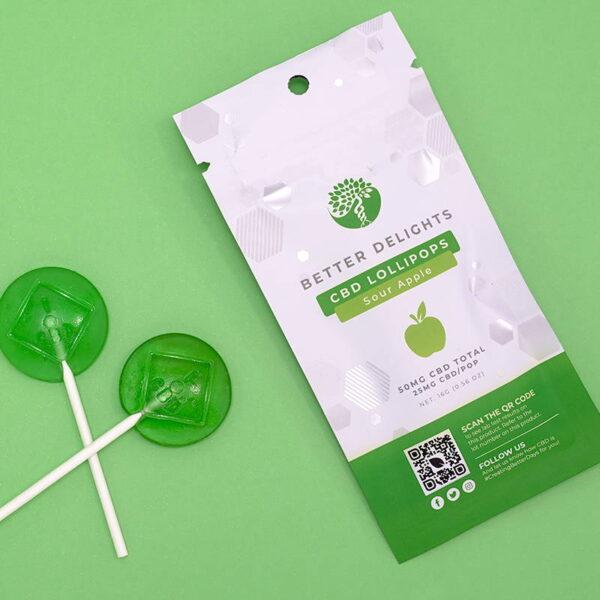 Better Delights Sour Apple CBD Lollipops