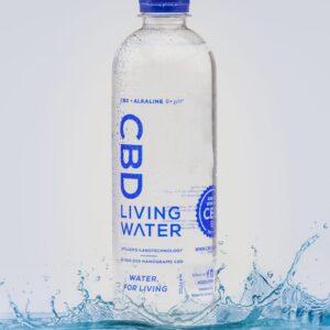 CBD Living Water Bottle Splashing in Water
